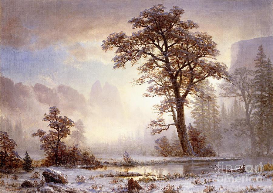 Albert Bierstadt Painting - Valley Of The Yosemite Snow Fall by Albert Bierstadt
