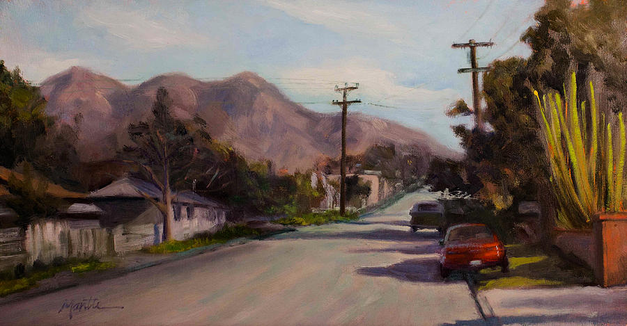 Streetscape Painting - Valmont by Athena Mantle