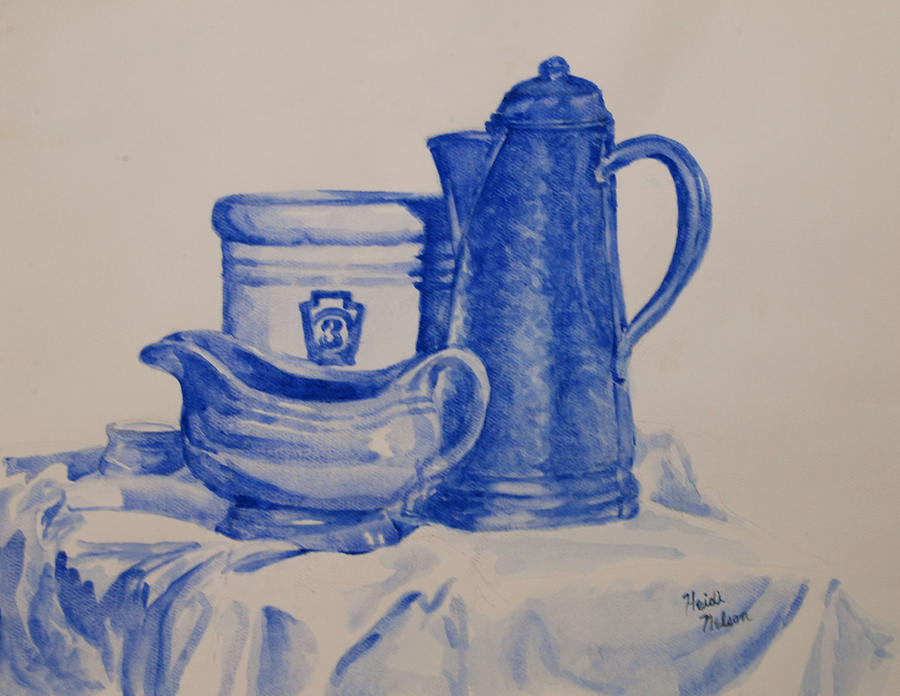 Still Life. Crock Painting - Value Study In Blue by Heidi E  Nelson