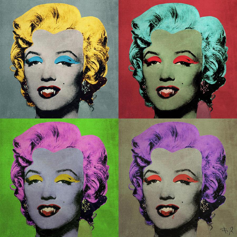 Pop Digital Art - Vampire Marilyn Set Of 4 by Filippo B