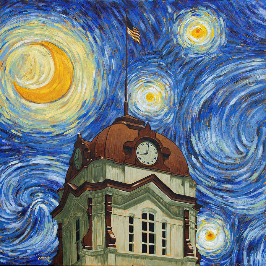 Starry Painting - Van Gogh Courthouse by Glenn Pollard