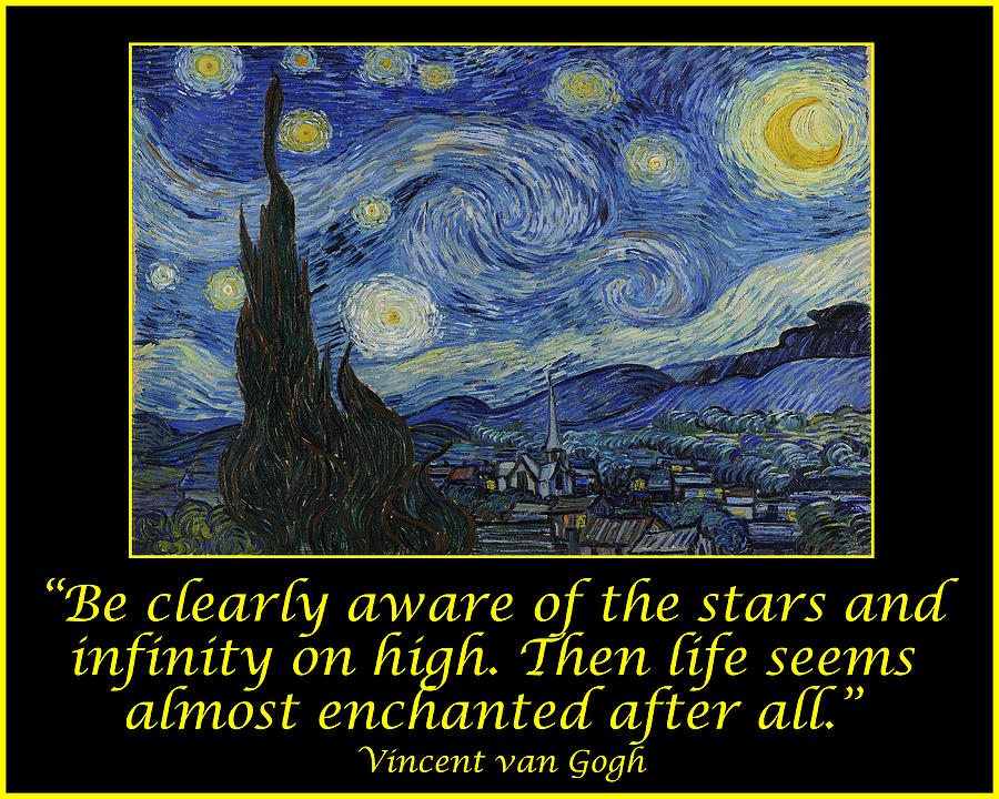 Van Gogh Motivational Quotes Starry Night Ii Drawing By