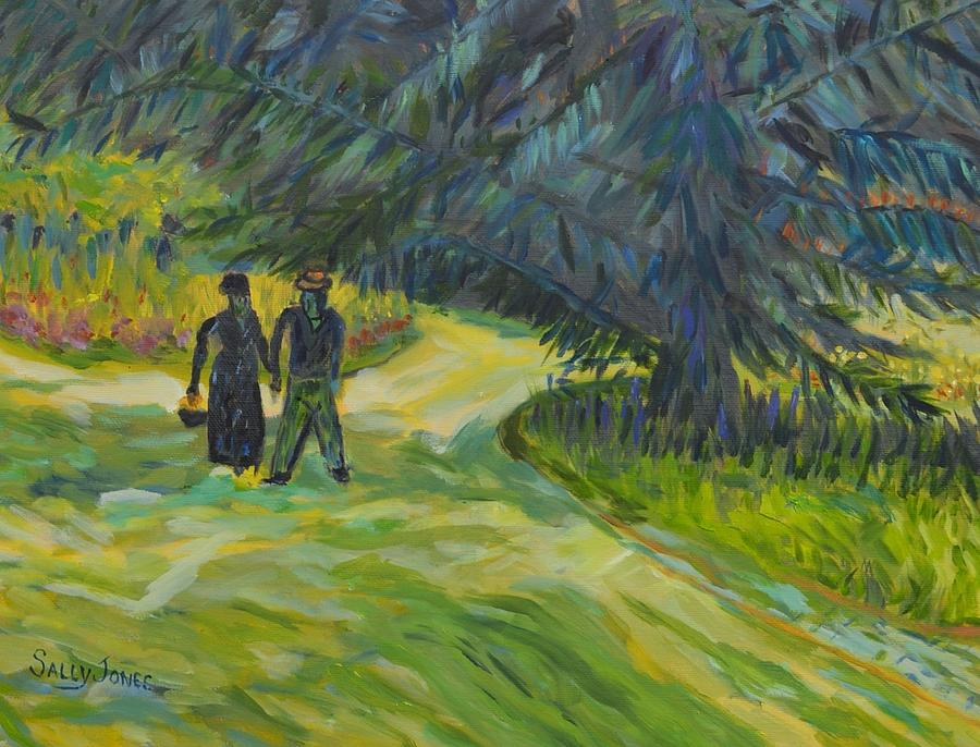 Van Gogh Public Garden With Couple And Blue Fir Tree Reproduction ...