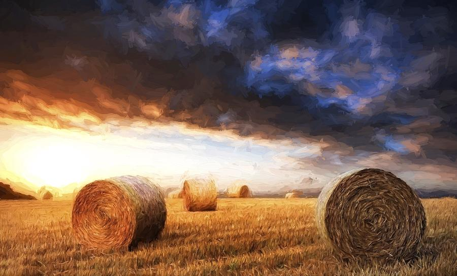 Landscape Photograph - Van Gogh Style Digital Painting Beautiful Golden Hour Hay Bales Sunset Landscape by Matthew Gibson