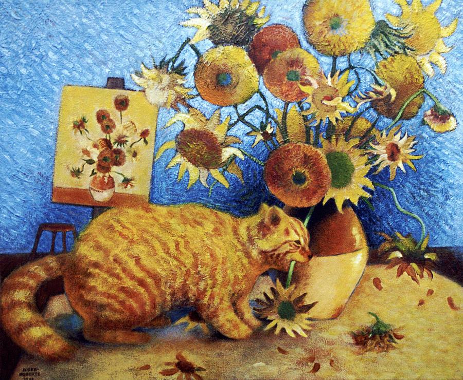 Cat Art Painting - Van Goghs Bad Cat by Eve Riser Roberts