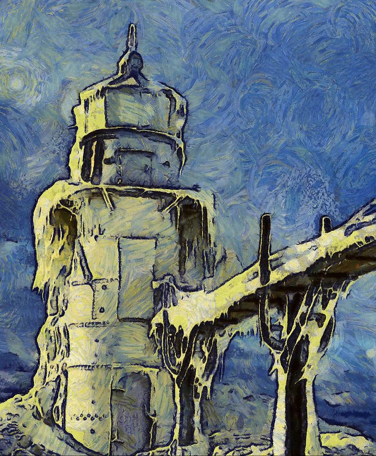 Lighthouse Painting - The Frozen Lighthouse Lake Michigan by Dan Sproul