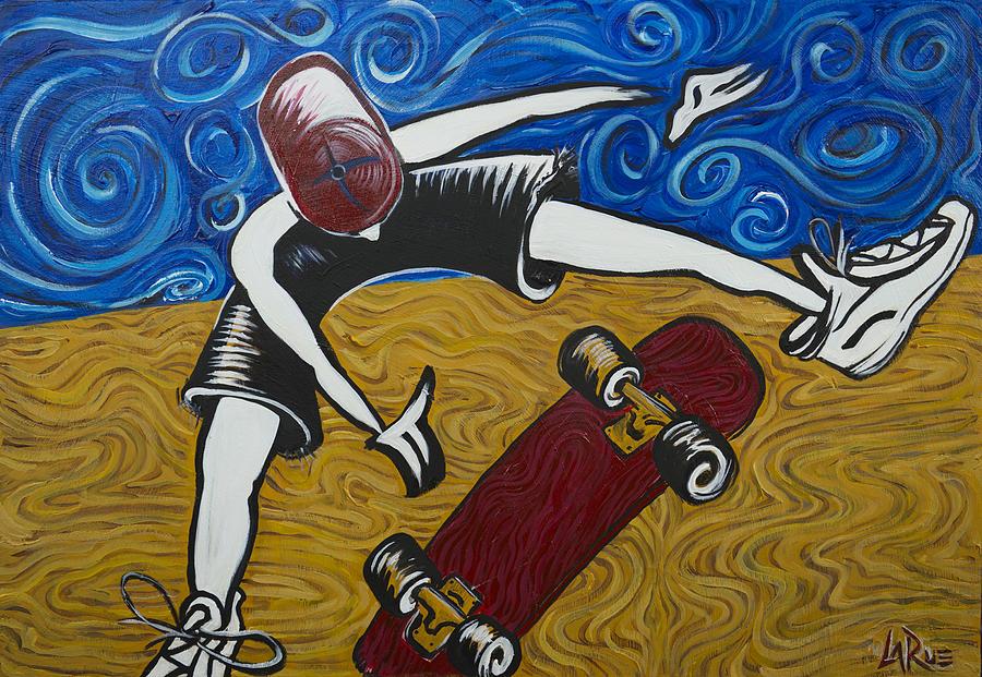 Skateboard Painting - Van Goghs Half Pipe by Doug LaRue