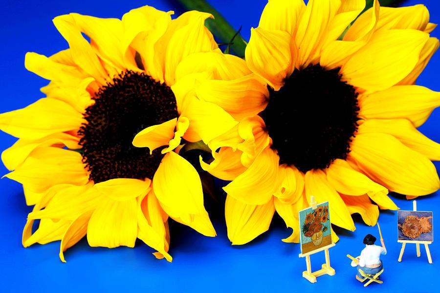 Van Photograph - Van Goghs Sunflower Miniature Art by Paul Ge