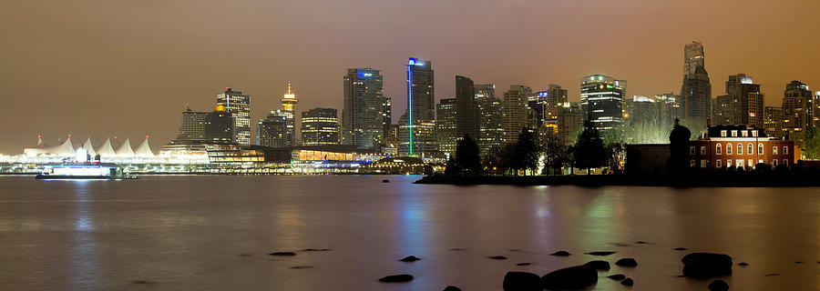 Vancouver Photograph - Vancouver BC City Skyline at Night by David Gn