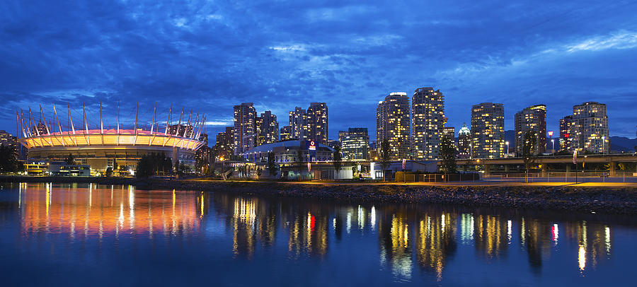 Vancouver Photograph - Vancouver Bc City Skyline With Bc Place At Blue Hour by David Gn