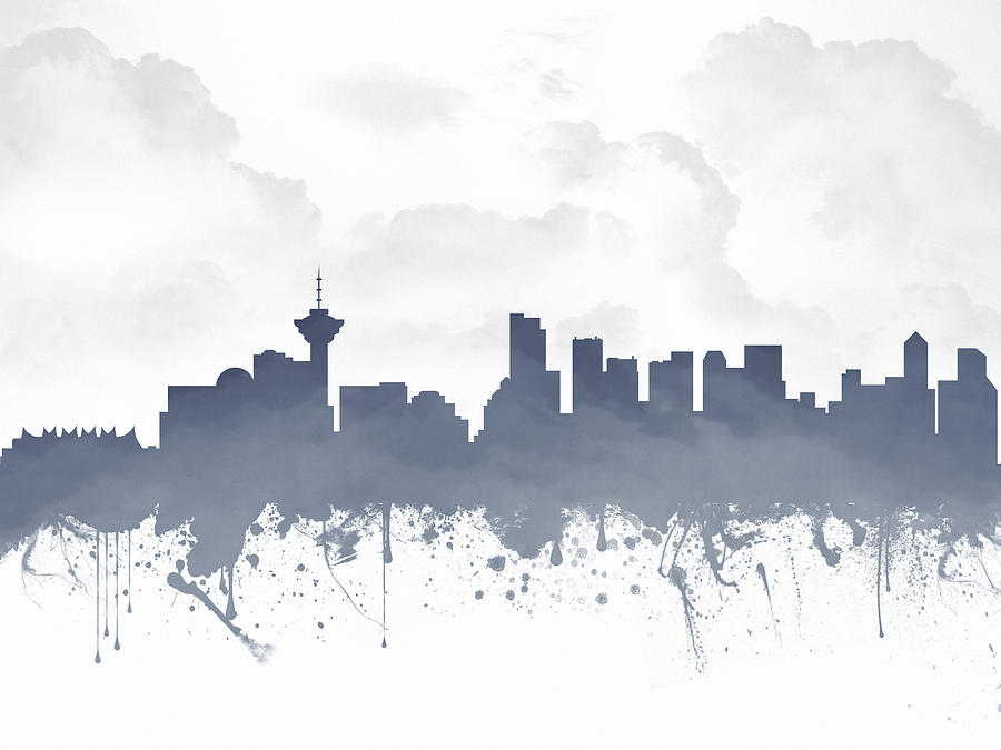 Vancouver Digital Art - Vancouver British Columbia Skyline - Blue 03 by Aged Pixel