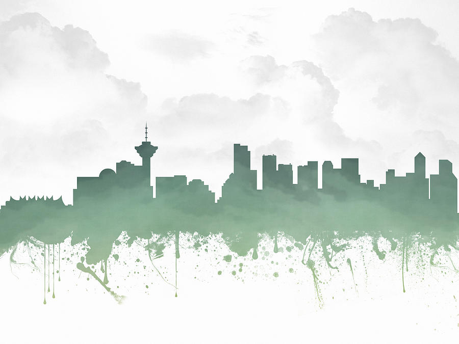 Vancouver Digital Art - Vancouver British Columbia Skyline - Teal 03 by Aged Pixel