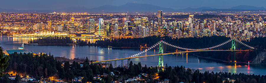 Vancouver City With Lions Gate Bridge At Twilight Photograph