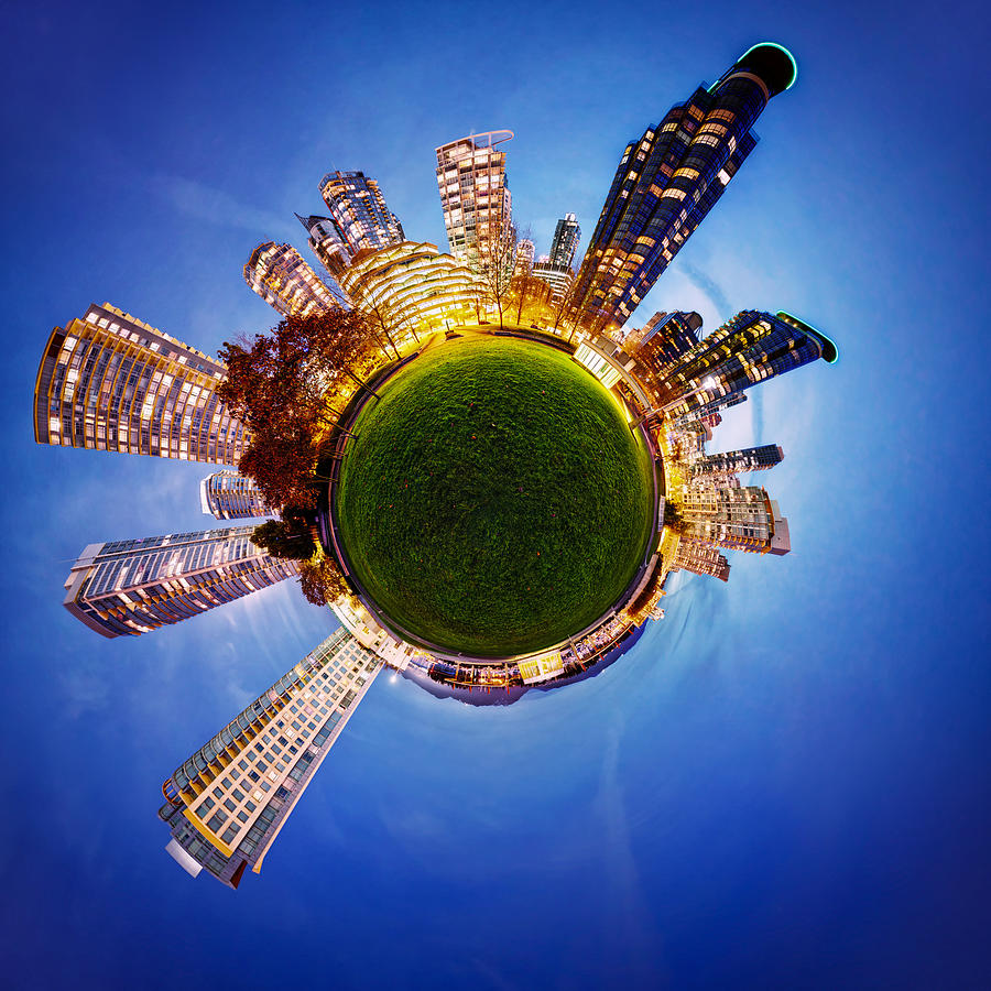 Little Planet Photograph - Vancouver Little Planet by Alexis Birkill
