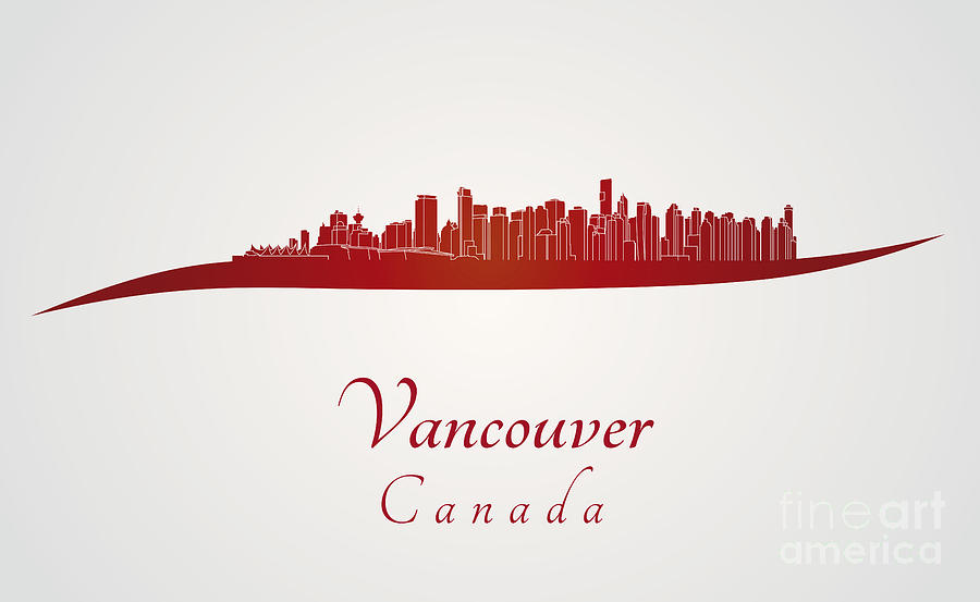 Vancouver Skyline Digital Art - Vancouver Skyline In Red by Pablo Romero