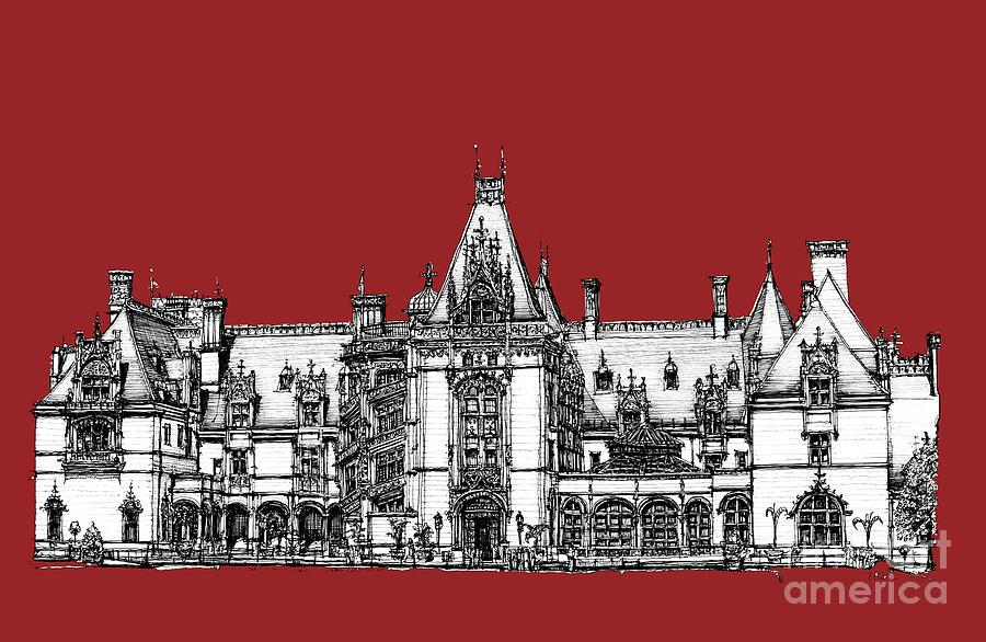 Graphic Drawing - Vanderbilts Biltmore Estate In Red by Adendorff Design