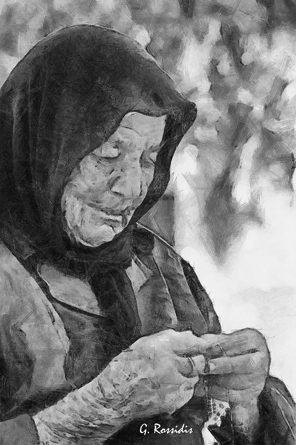 Old Lady Painting - Vangelitsa by George Rossidis