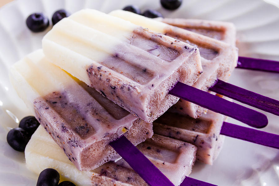 Background Photograph - Vanilla And Blueberry Popsicles by Teri Virbickis