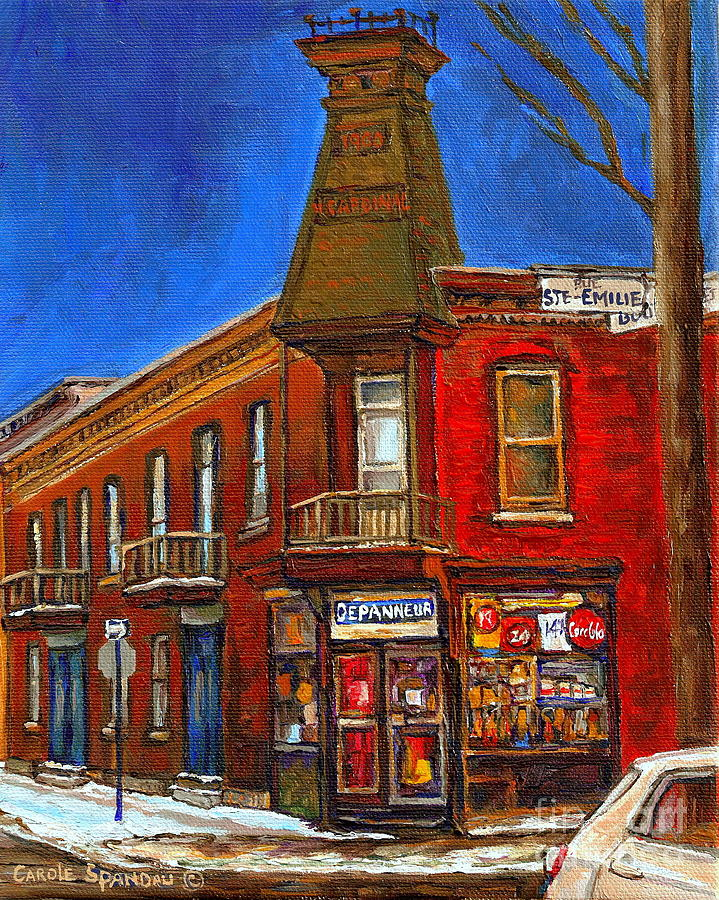 Montreal Memories Winter Scenes Paintings Painting - Vanishing Montreal Landmark Depanneur Ste. Emilie And Bourget Montreal Painting By Carole Spandau  by Carole Spandau