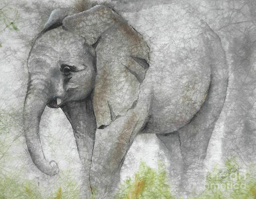 Elephant Painting - Vanishing Thunder Series-baby Elephant I by Suzanne Schaefer