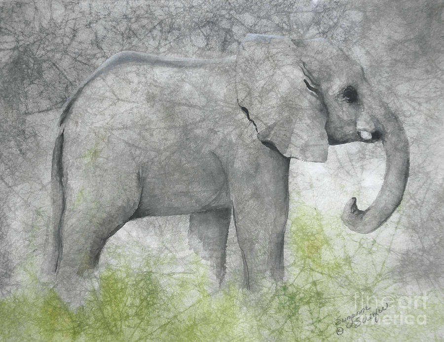 Elephant Painting - Vanishing Thunder Series-baby Elephant II  by Suzanne Schaefer