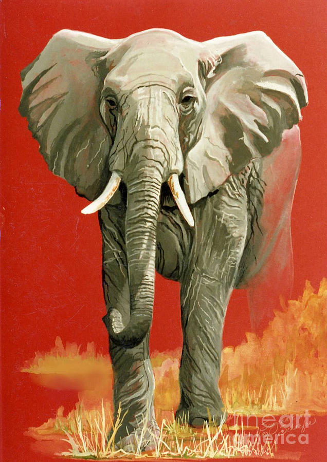 Elephant Painting - Vanishing Thunder Series by Suzanne Schaefer