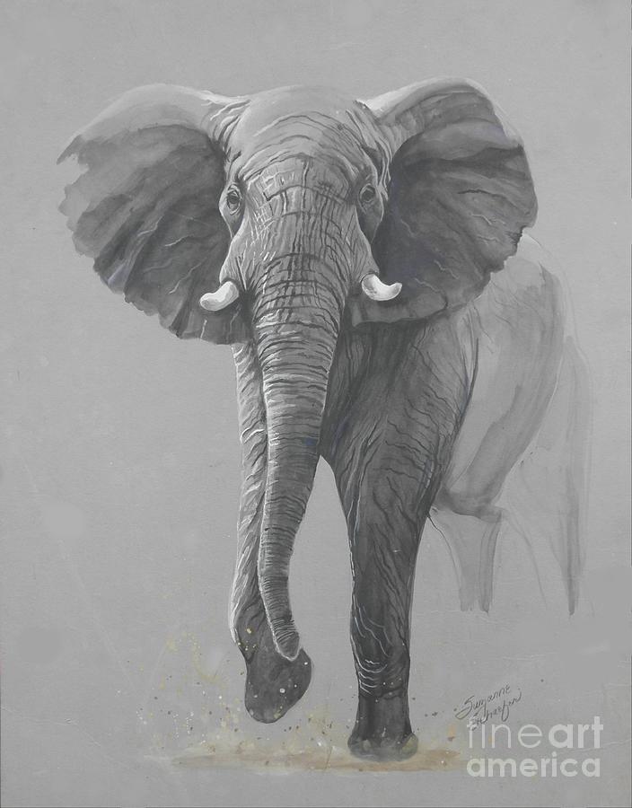 Elephant Painting - Vanishing Thunder by Suzanne Schaefer
