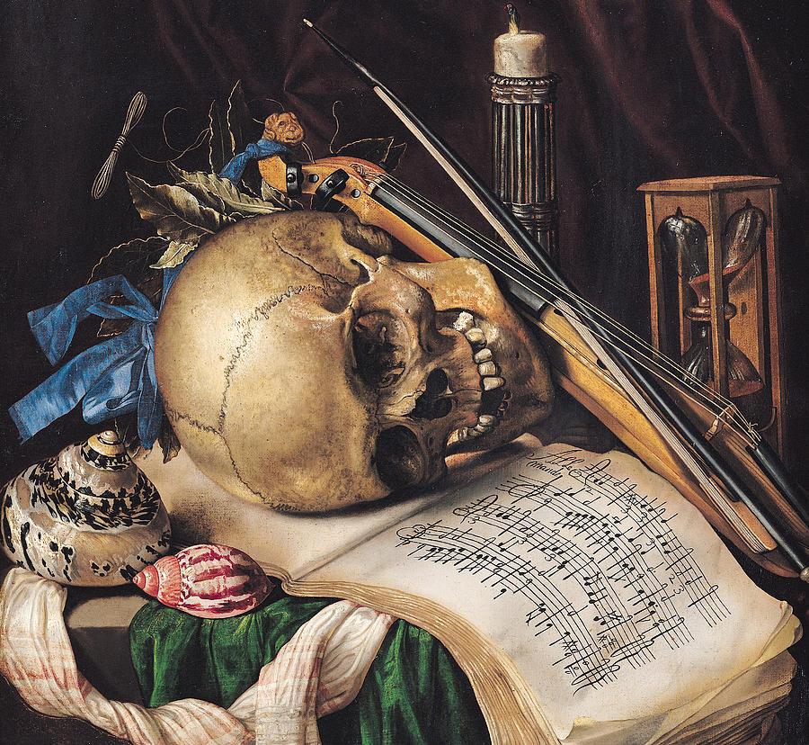 Skull Painting - Vanitas by Simon Renard de Saint Andre
