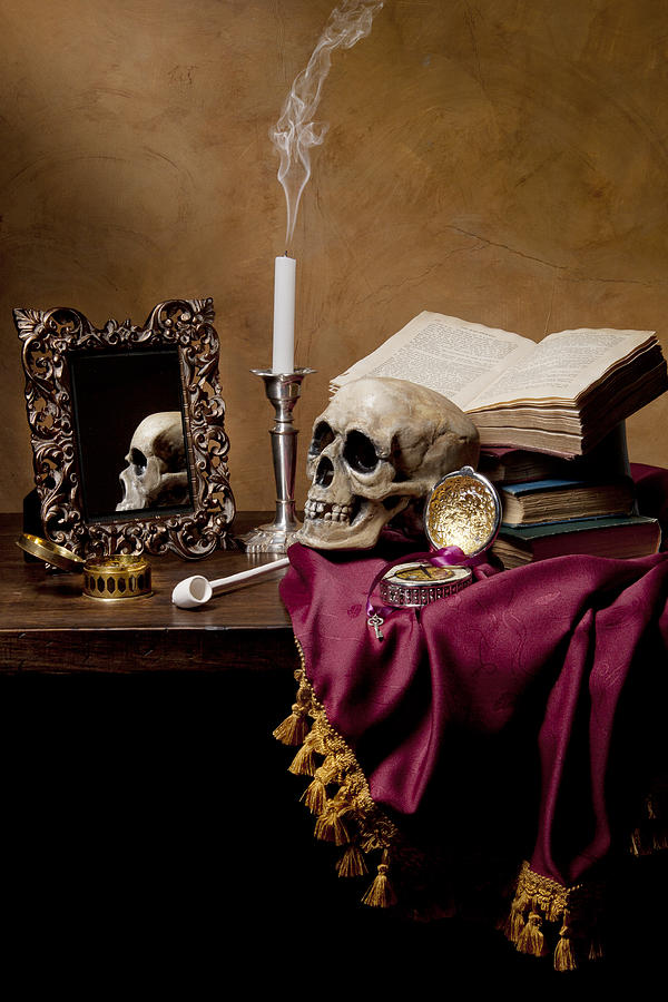 Vanitas skull mirror books and candlestick photograph by for Mirror books