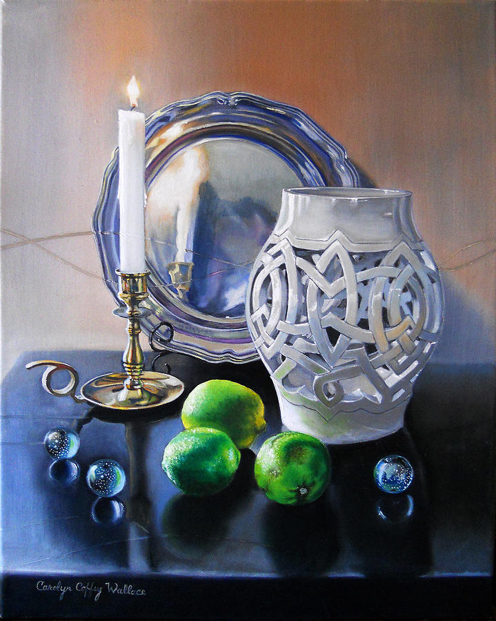 Vanitas Still Life by Candlelight with Limes 1 by Carolyn Coffey Wallace