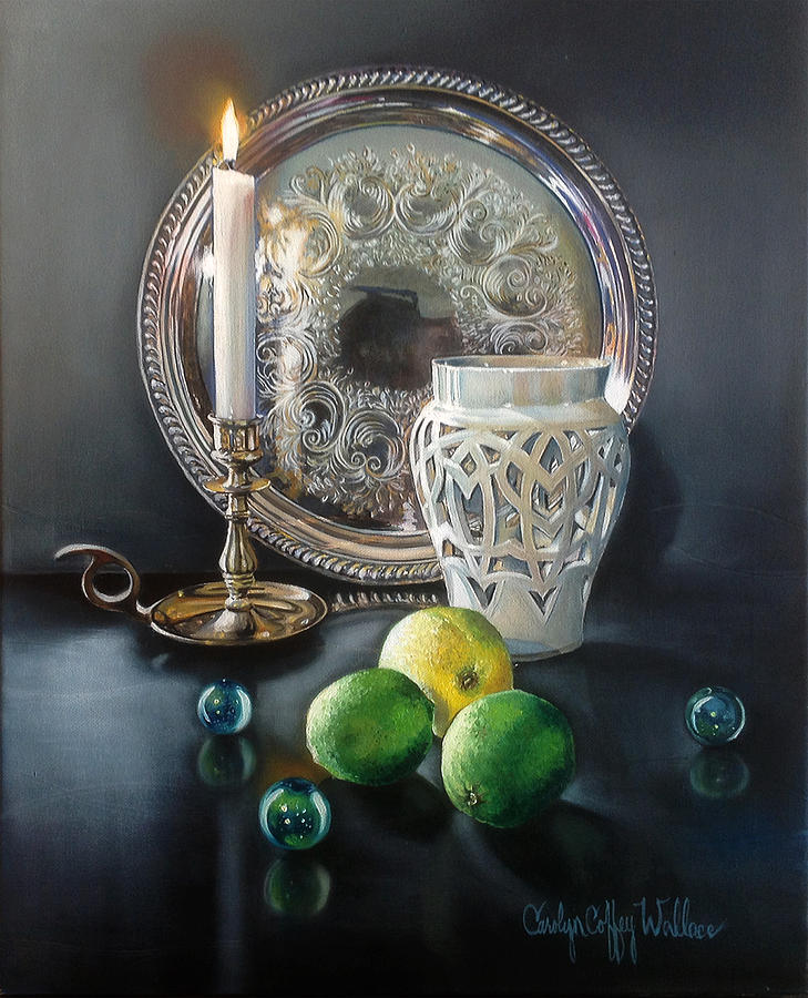 Vanitas Still Life by Candlelight  with Limes 2 by Carolyn Coffey Wallace