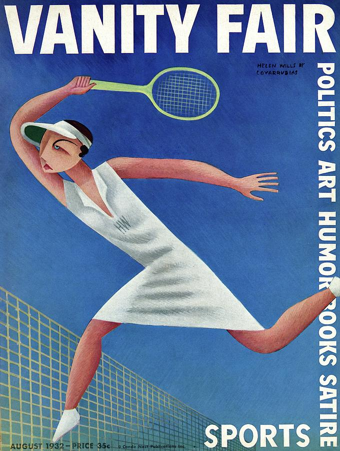 Vanity Fair Cover Featuring Helen Wills Playing Photograph by Miguel Covarrubias