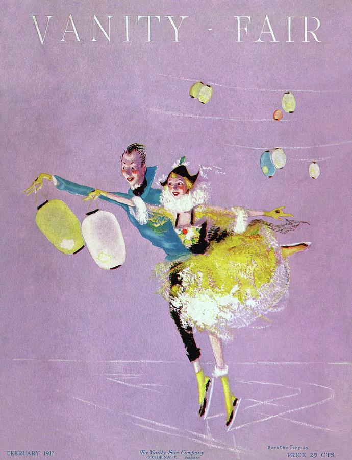 Illustration Photograph - Vanity Fair Cover Featuring Two Ice Skaters by Dorothy Ferriss