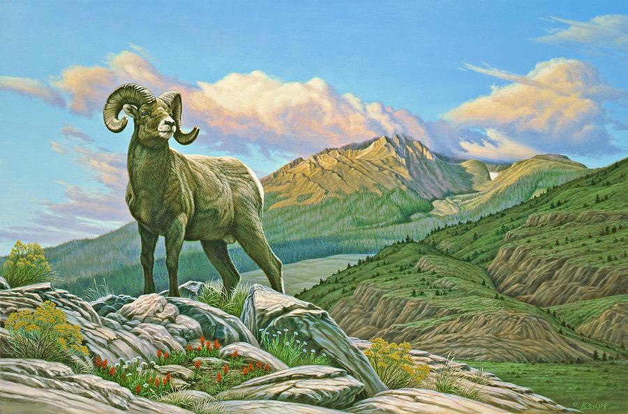 Wildlife Painting - Vantage Point - Bighorn by Paul Krapf