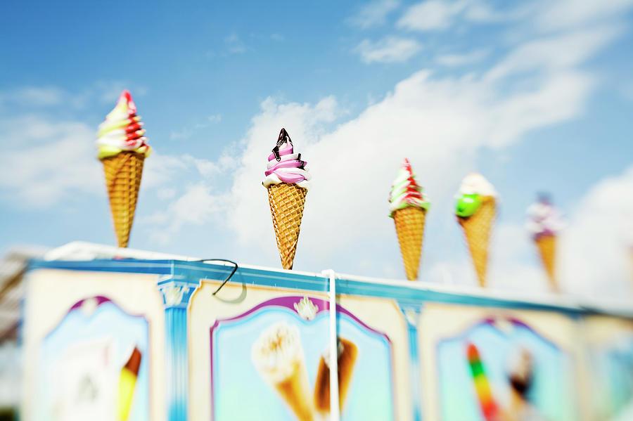 Variety Of Ice Cream Sculptures On Cart Photograph by Kentaroo Tryman