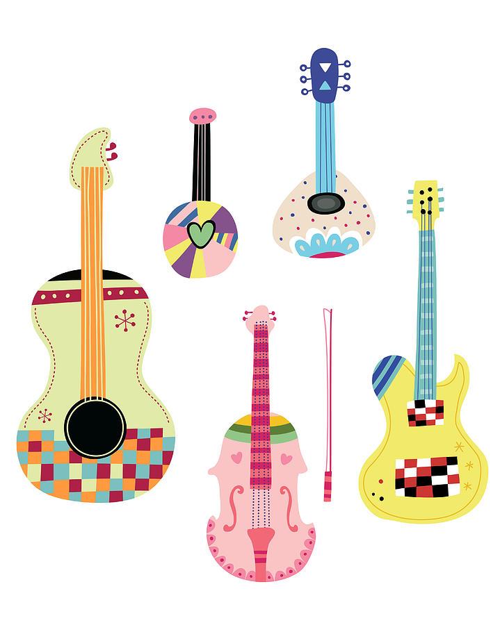 Various Kinds Of Stringed Instruments Digital Art by Eastnine Inc.
