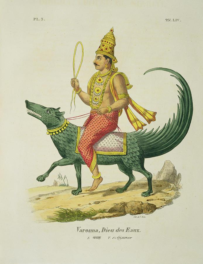 Hindu Drawing - Varuna, God Of The Oceans, Engraved by Louis Thomas Bardel