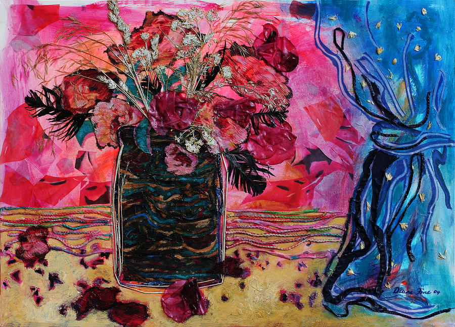 Flowers In A Vase Mixed Media - Vase And Blue Curtain by Diane Fine