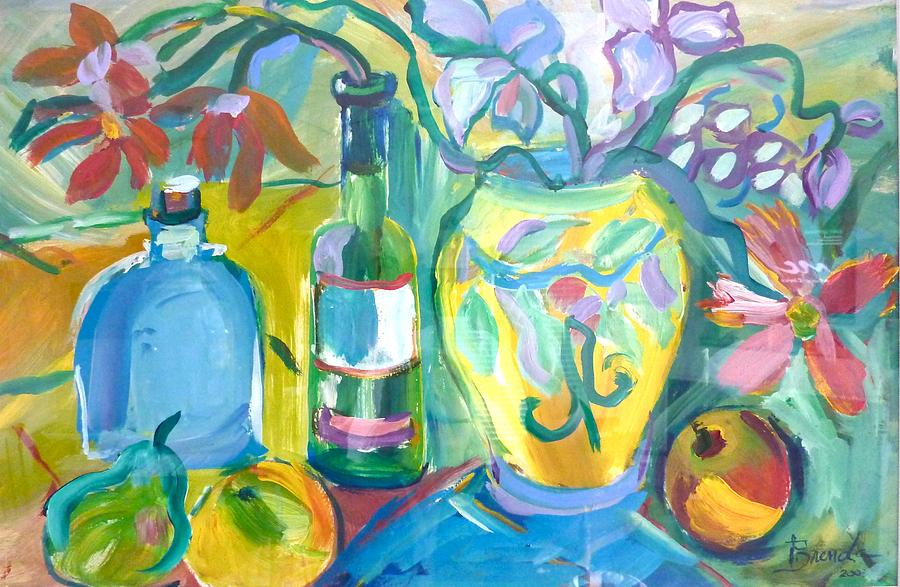 Acrylics Painting - Vase And Bottles In Still Life by Brenda Ruark