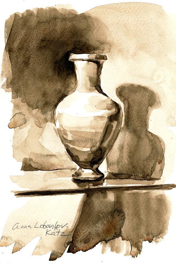 Vase Painting - Vase by Anna Lobovikov-Katz