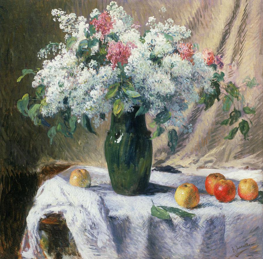 Apples Painting - Vase Of Flowers by Henri Lerolle