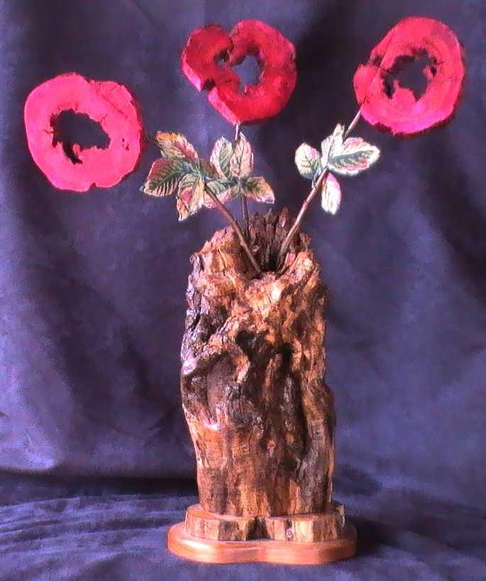 Wood Vase Mixed Media - Vase Of Flowers by Tanna Lee M Wells