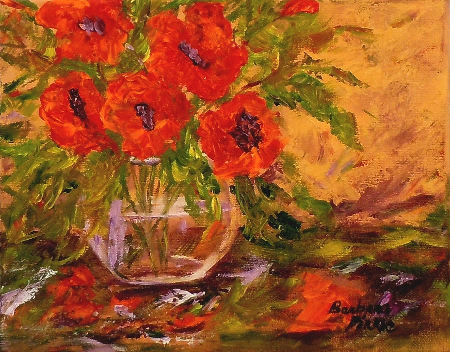 Poppies Painting - Vase Of Poppies by Barbara Pirkle