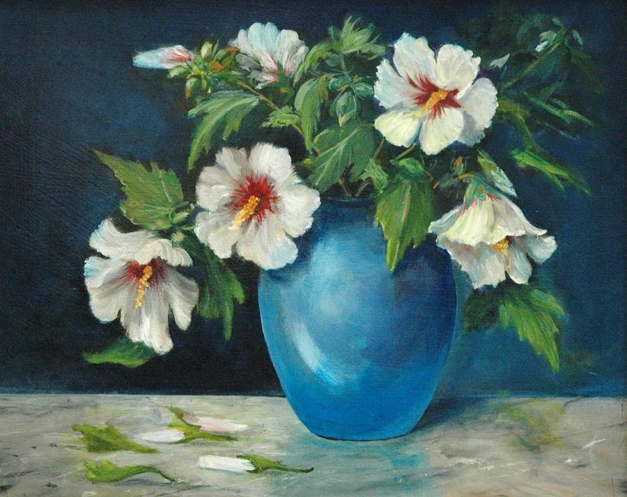 Still Life Painting - Vase Of Rose Of Sharons by Jolyn Kuhn