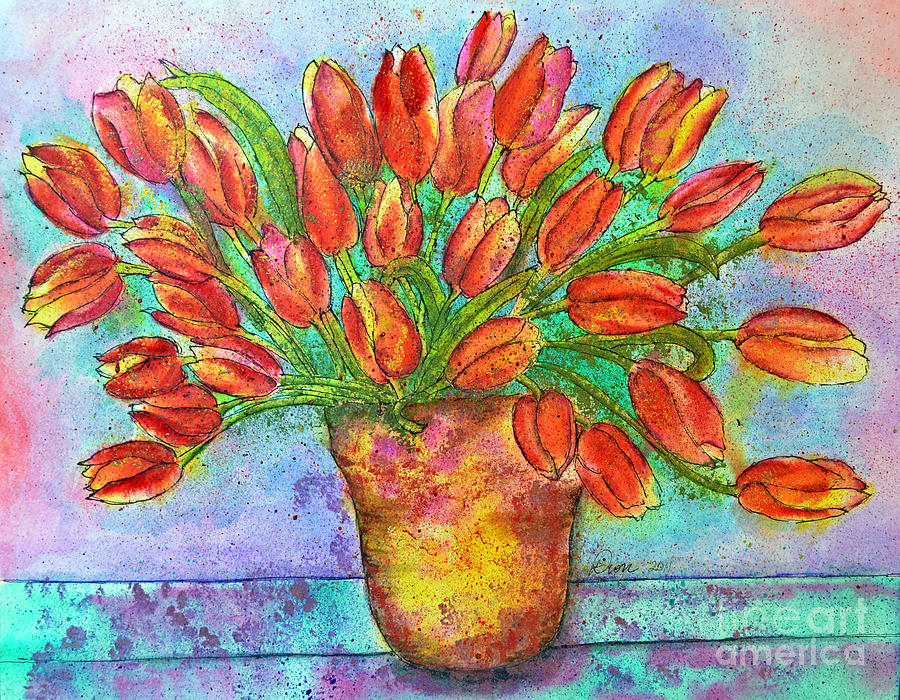 Tulips Painting - Vase Of Tulips by Dion Dior