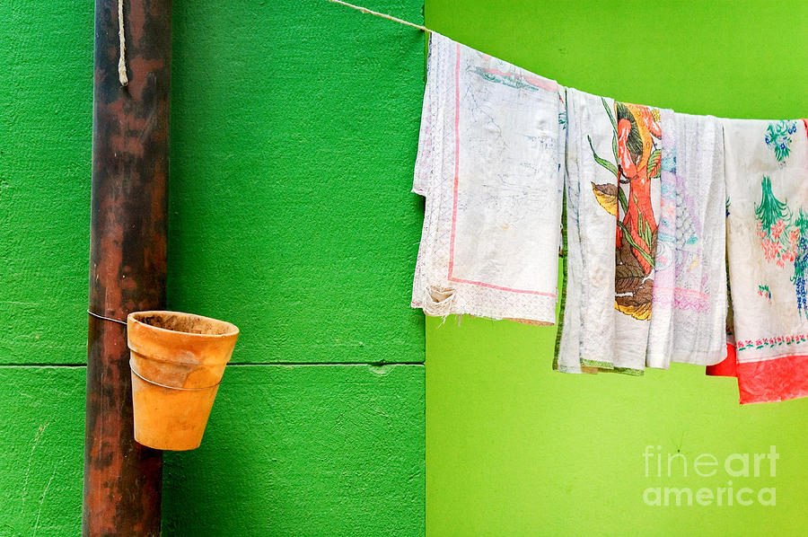 Colors Photograph - Vase Towels And Green Wall by Silvia Ganora