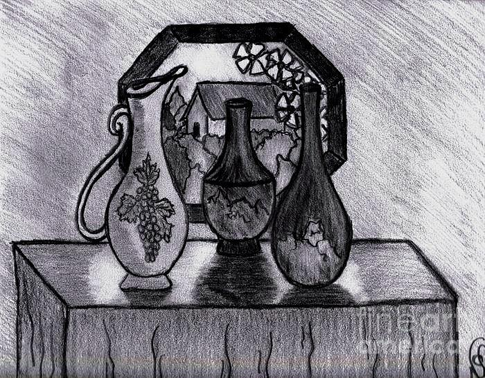Vases In Stained Glass Window Drawing by Neil Stuart Coffey