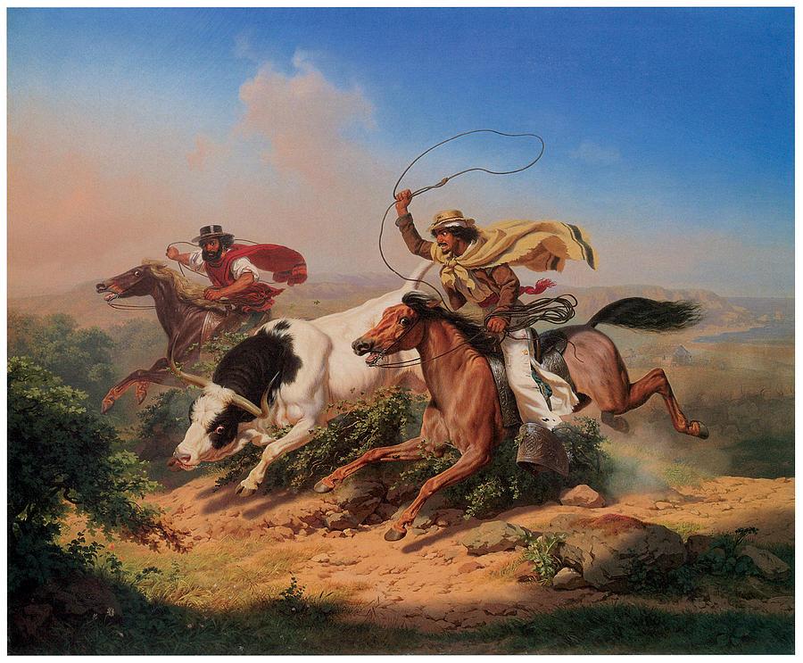 Charles Christian Nahl Painting - Vasqueros Roping A Steer by Charles Christian Nahl