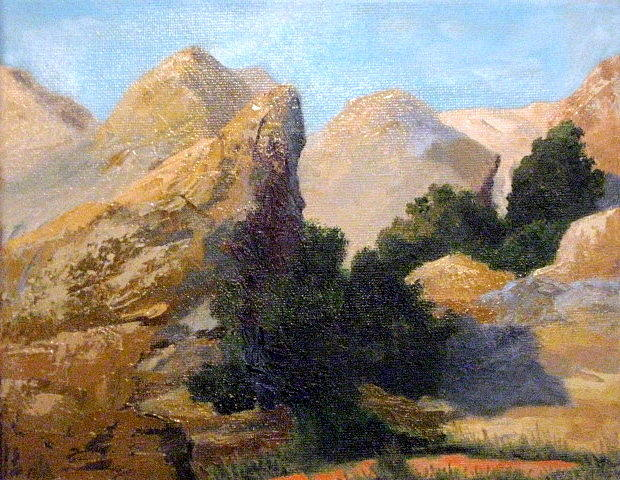 Vasquez Rocks Painting - Vasquez Rocks View from the Road by Terry Sonntag