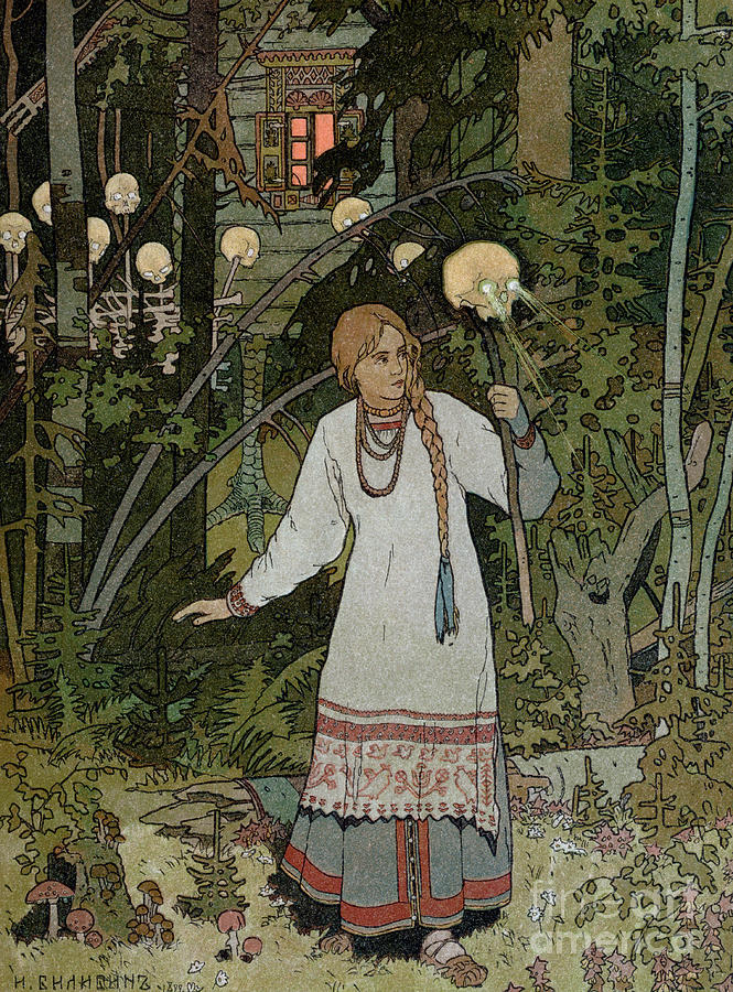 Horror Painting - Vassilissa In The Forest by Ivan Bilibin